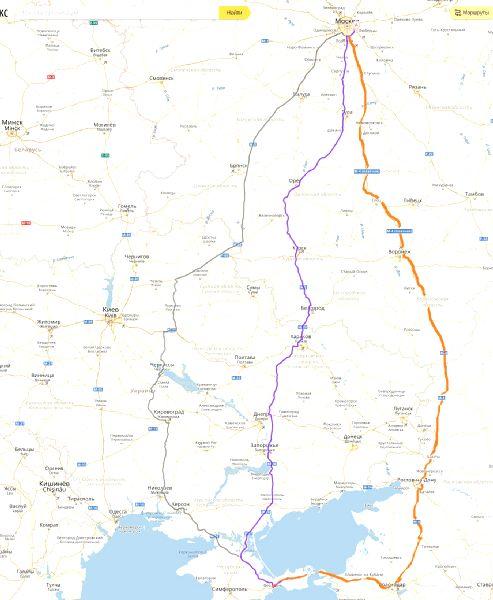 Путь. Карта до Коктебеля.